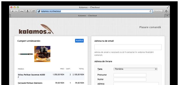 Kalamos formular de comanda personalizat